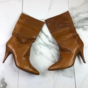 Angelina Soft Leather Light Brown Heeled Boots 8